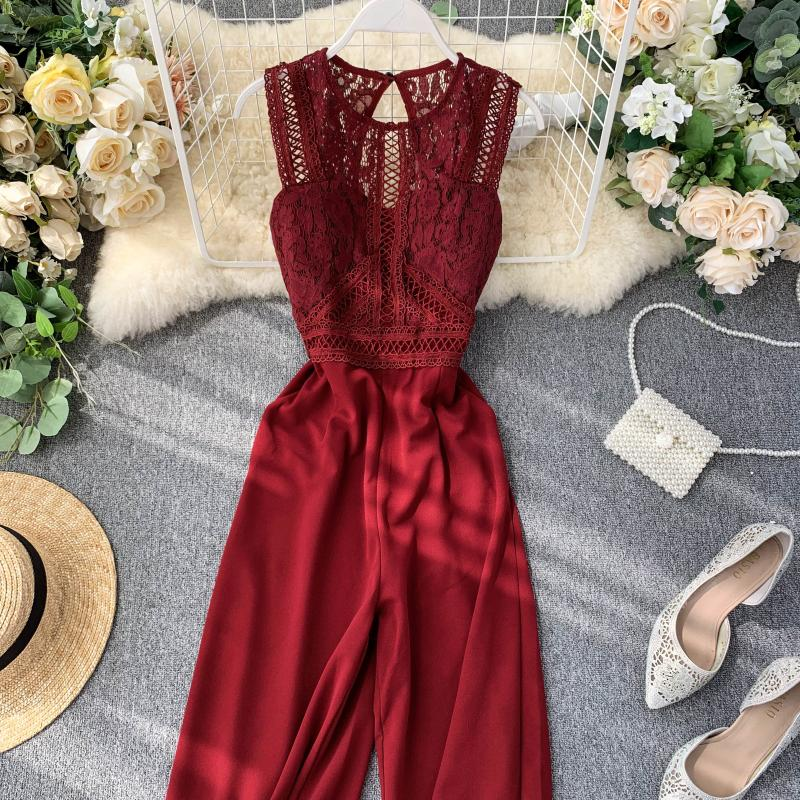 Elegant High Waist Hip Wide Leg Patchwork Lace Hollow Out Sleeveless Jumpsuit 10