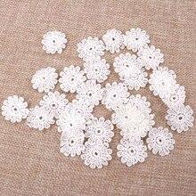 Wholesale100pcs/lot Flower Shape DIY white Lace Decorative Flower Piece Broderie Suisse Wedding Decoration 26mm