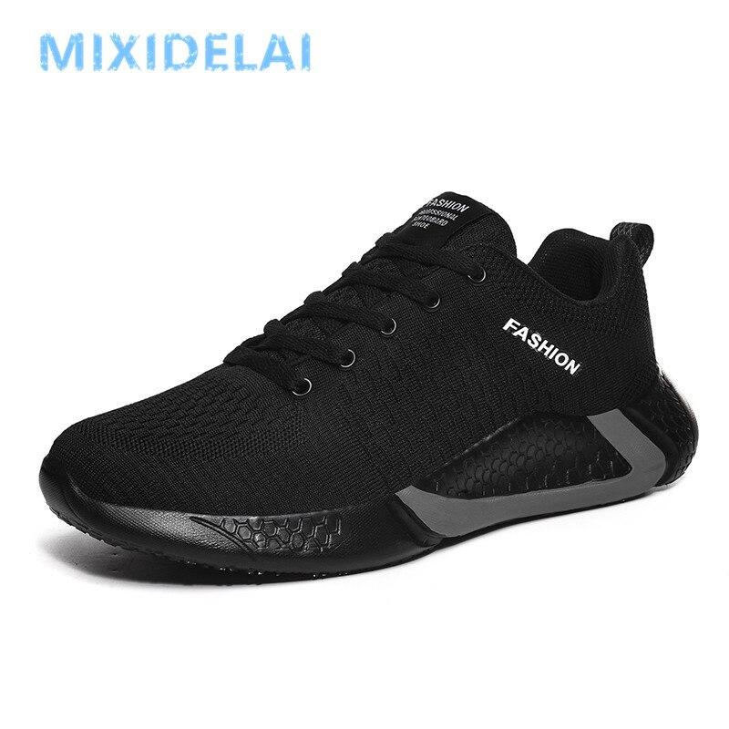 Comfortable Casual Shoes Men Breathable Walking Shoes Lightweight Sneakers Black Footwear Men Lace-Up Flats Shoes Men Big Size