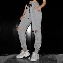 2019 Women Pants Casual Drawstring High Waist Joggers Hollow Holes Streetwear Long Trousers with Pockets lace up Sweatpants gray grey casual drawstring waist zipper design pants with four pockets