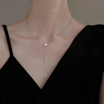 Trendy Pendant 925 Sterling Chain Necklace Maple leaf Shape AAA Zircon Shiny Jewelry For Women Holiday Gift Mother - discount item  43% OFF Fine Jewelry