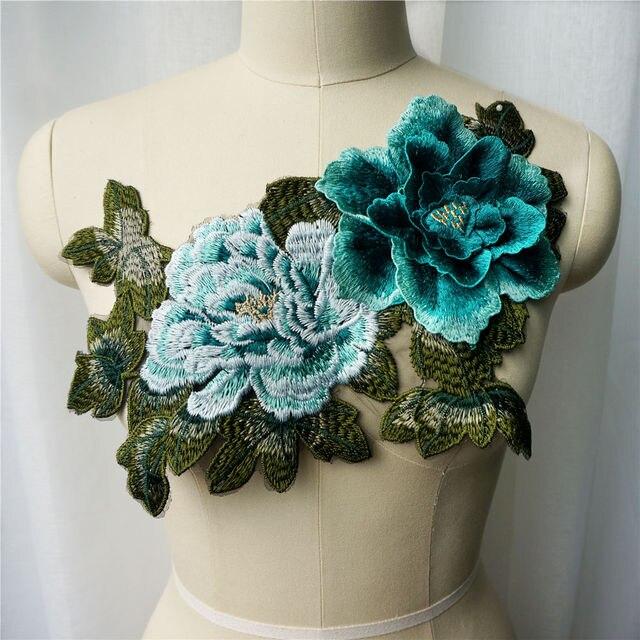 Robe brodée en tissu dentelle bleu sarcelle   3D, feuille de fleur de pivoine, collier de tissu, Patch cousu pour mariage, décoration, bricolage, robe de décoration