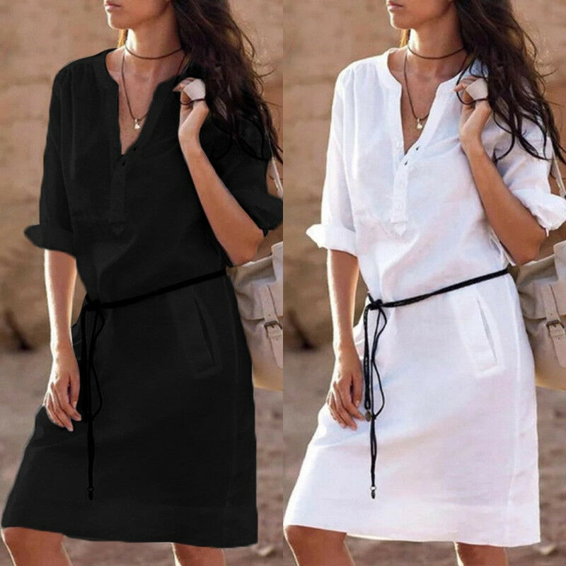 Fashion Womens Boho Long Sleeve V-Neck Cotton Linen Casual Beach Style Holiday Mini Dress T-shirt Dress