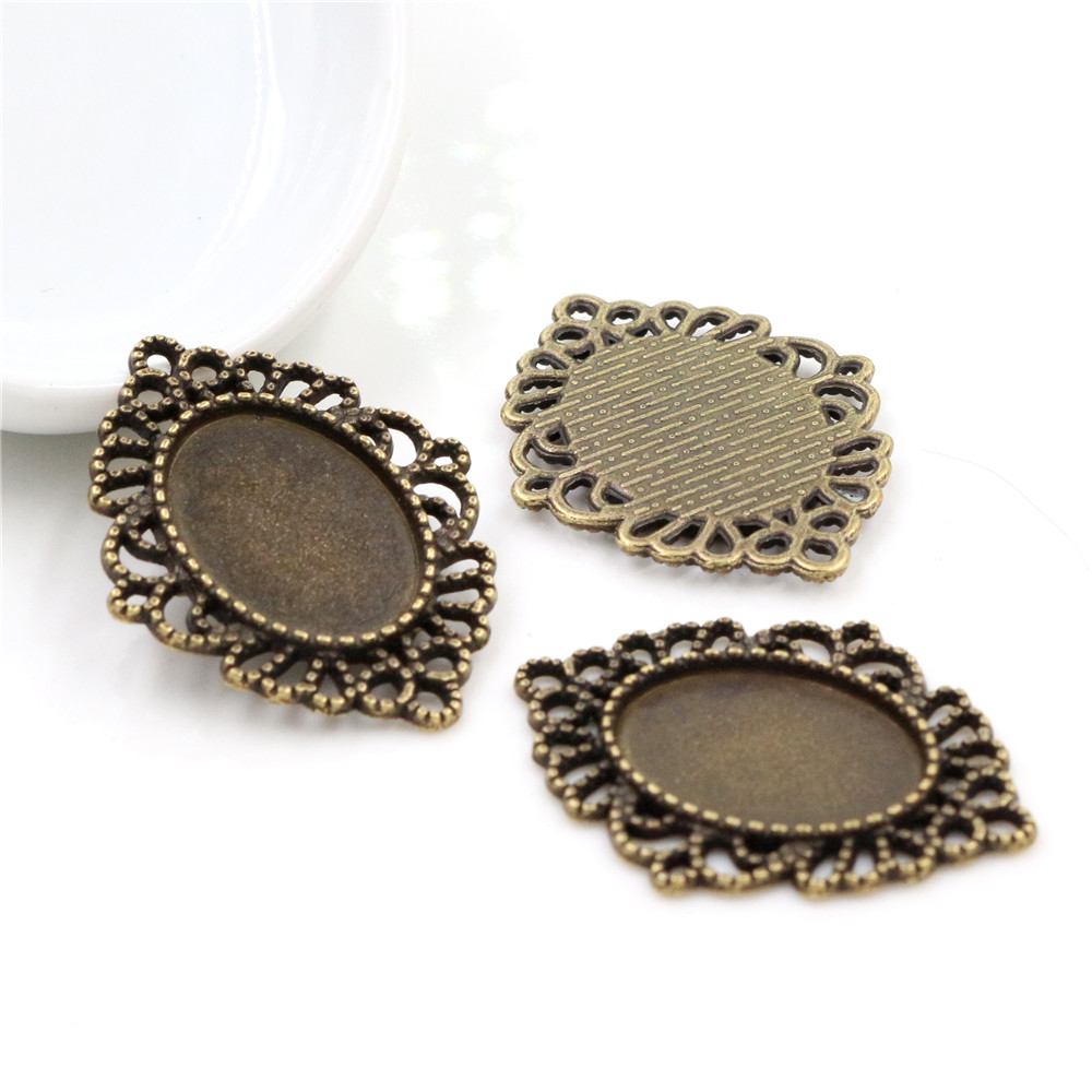 10pcs 13x18mm Inner Size Antique Bronze Simple Style Cameo Cabochon Base Setting Charms Pendant Necklace Findings ( D4-17)