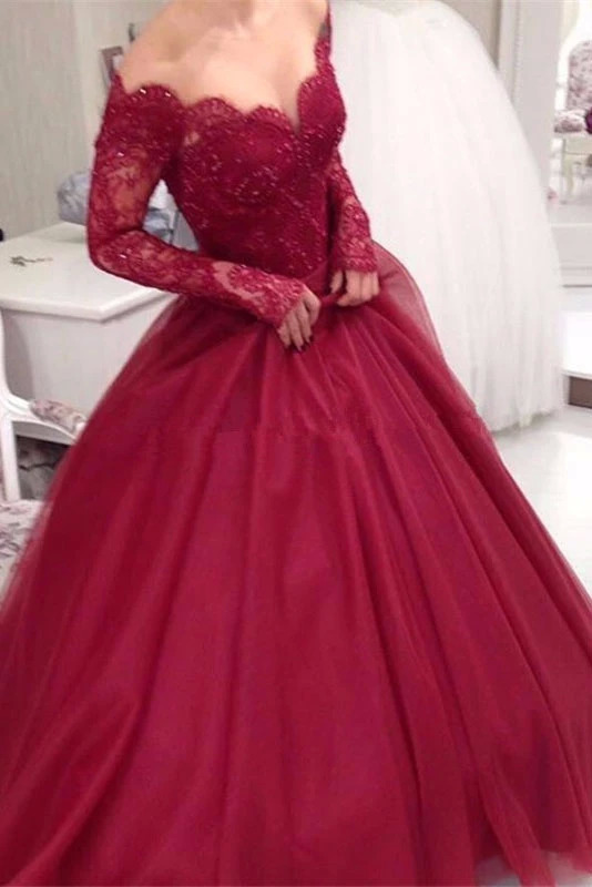 V-neck Off Shoulder Burgundy Quinceanera Dresses Long Sleeves Lace Sweet 15 Dress Prom Party Gowns Vestidos Quinceanera