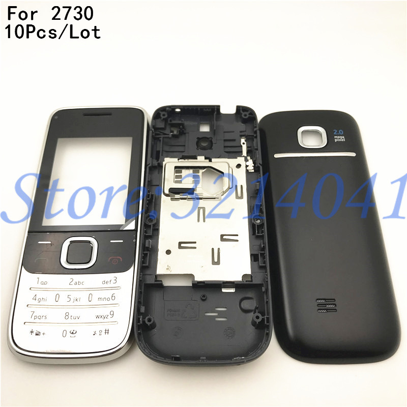 10Pcs/Lot New Full Housing For <font><b>Nokia</b></font> 2730C <font><b>2730</b></font> Front Faceplate Frame Cover Case+Back cover/battery door cover+Keypad + Logo image