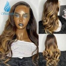 Smd ombr cor 13*6 perucas da parte dianteira do laço pré arrancadas linha fina relação média peruano onda do corpo remy cabelo humano perucas para as mulheres