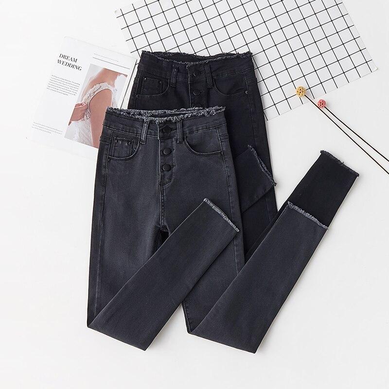 2019 Джинсы женские джинсовые штаны черные корейские женские узкие джинсы осенние обтягивающие Стрейчевые Хлопковые женские брюки