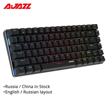 Ajazz AK33 82 key Gaming Mechanical Keyboard Russian/English layout backlight USB Wired anti-ghosting Blue/Black switch pc gamer