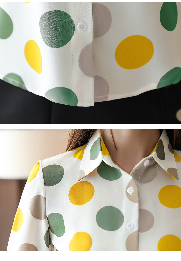 Chiffon Polka Dot Geometric Shirt 4
