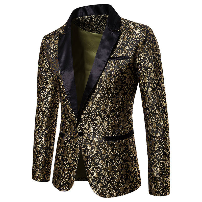 2019 Fashion Mens Patchwork One Button Blazer Jacquard Bronzing Floral Blazer Men Brand Jacket Party Stage Singer Costume Homme