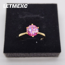 Letmexc Classical 925 Silver Plated 18K Gold Moissanite Diamond Ring VVS1 Ladies Engagement Wedding Ring