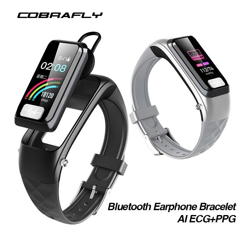 Cobrafly H207 bluetooth oortelefoon armband smart band horloge fitness tracke smart watch mannen vrouwen waterdichte smart armband ECG