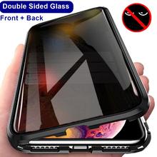 Magnetyczne szkło hartowane metalowa obudowa dla iPhone 12 Pro Max prywatność Antispy ochronna dwustronna pokrywa dla iPhone 12 Mini X XS tanie tanio ROCKBEN CN (pochodzenie) Aneks Skrzynki Antispy Privacy Double-side Glass Apple iphone ów IPhone 7 IPhone 7 Plus IPHONE 8 PLUS