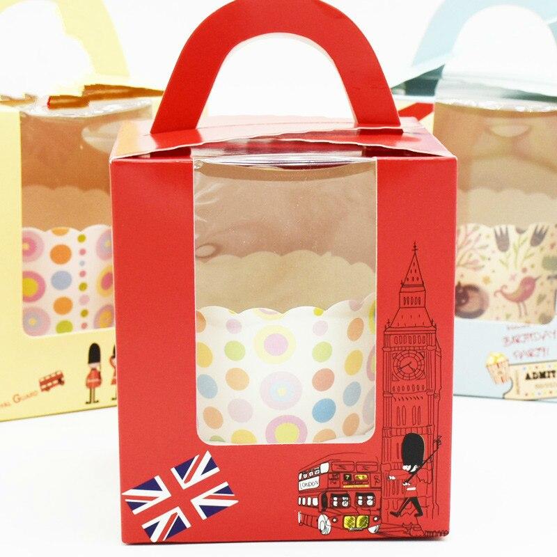 50 pièces boîte à Cupcake avec poignée de fenêtre cirque licorne fleur de noël boîte de cadeau de mariage emballage tasse gâteau Kraft boîtes d'emballage - 5