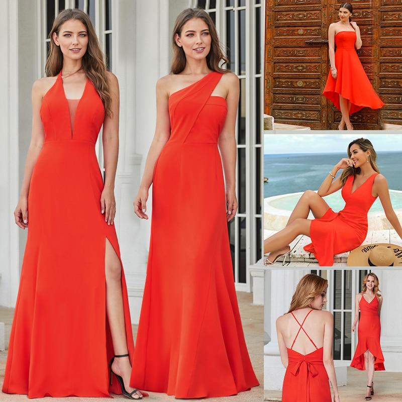 New Fashion Women Dress A-Line V-Neck Sleeveless Side Split Maxi Dress Sexy Orange Long Party Dress Vestidos De Festa 2020