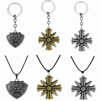 Game FarCry5 Necklace The Fall's End Symbol Pendant Leather Chain Necklaces Cult Logo Jewelry Men Necklace Gifts Far Cry5 image