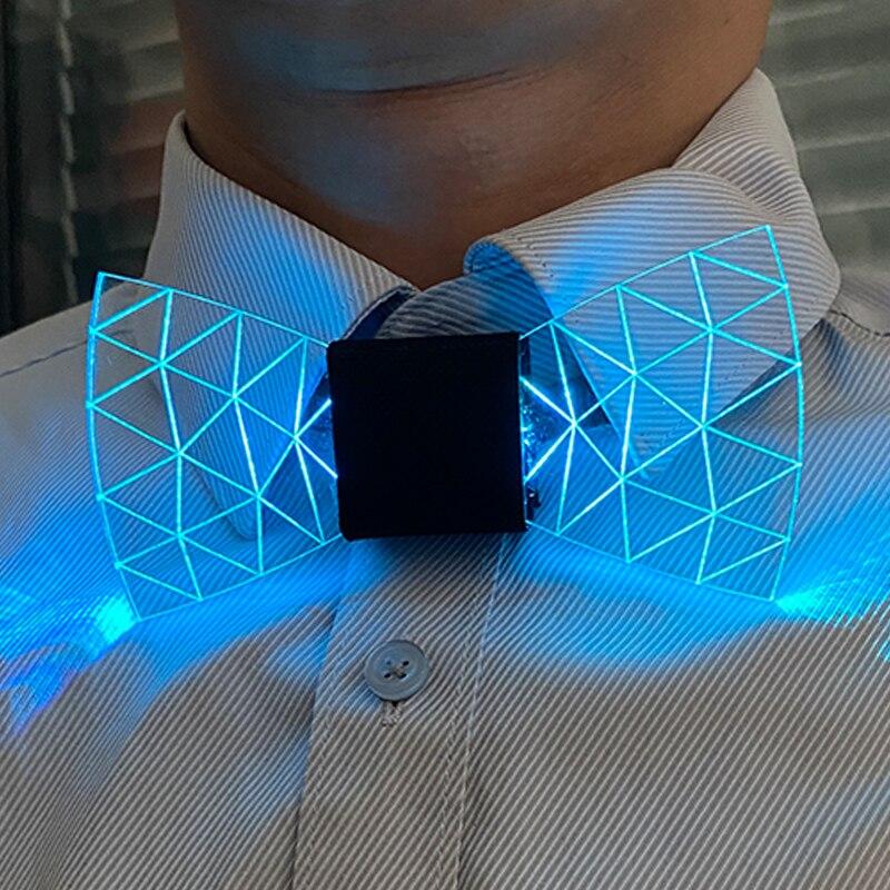 Colorful LED Acrylic Bow Tie Change 7 Lighting Colors Men Bow Tie Flashing LED Bow Tie Light Up Party Luminous Bow Tie
