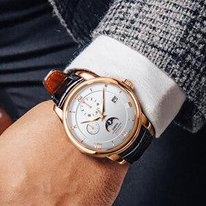 Image 3 - Suíça marca de luxo lobinni men relógios gaivota relógio automático mecânico masculino safira fase da lua 50m à prova dwaterproof água L1888 1