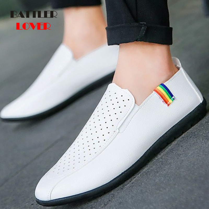 Men Flats 2019 New Fashion Driving Shoes Genuine Leather Mens Loafers Mocassins Spring Summer Leisure Shoes Males Footwear Shoe