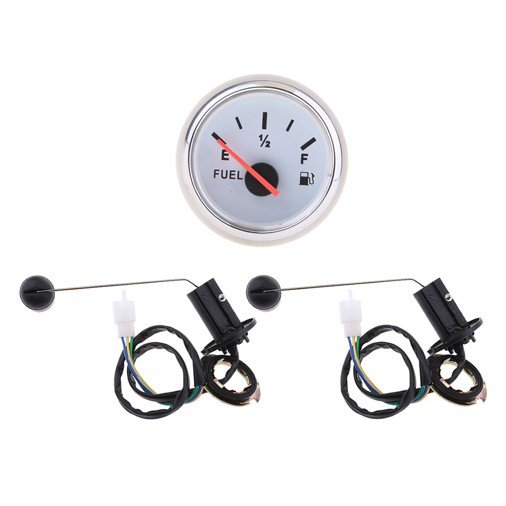 MagiDeal 3 X Boat Marine Fuel Level Gauge LED +fuel Guage Level Sensor White