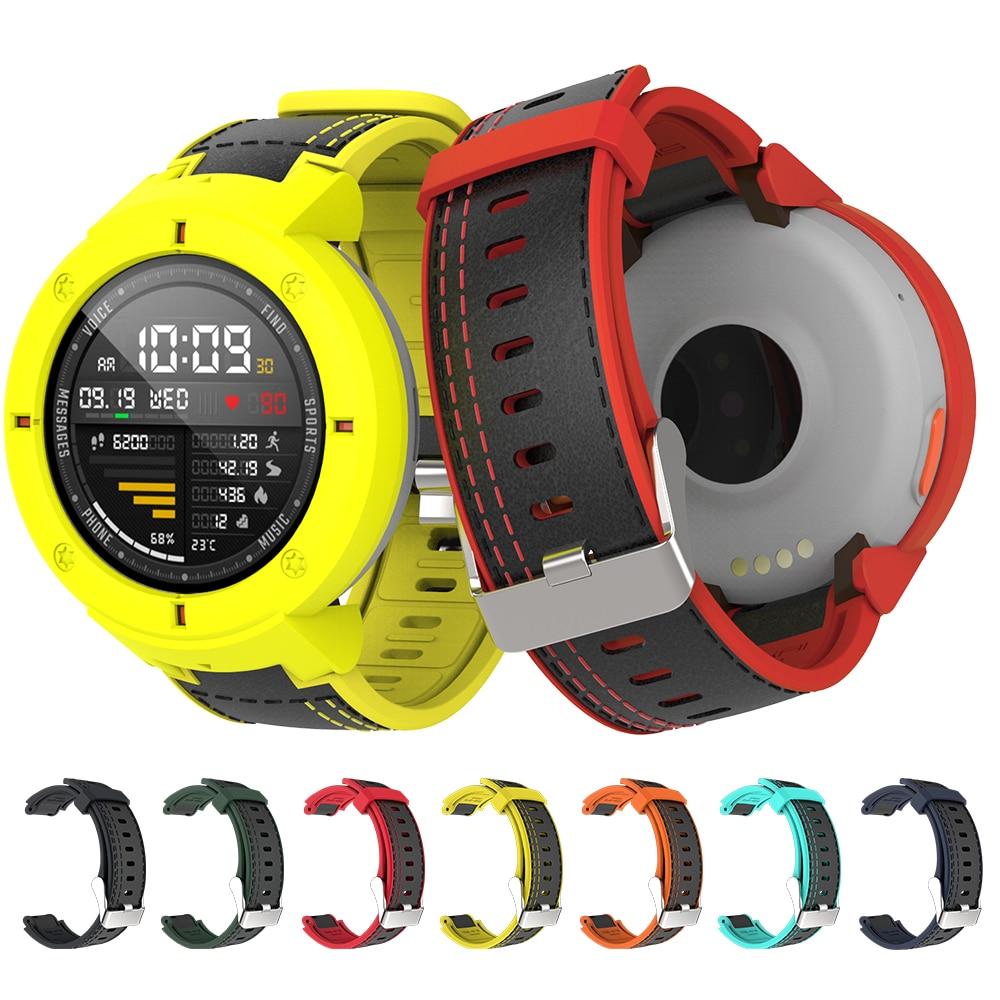Pulseira de Couro SIKAI Silicone Para Xiaomi Huami Amazônia Beira 3 lite Substituição Alça Pulseira relógio de Alta Qualidade Para 3 Huami