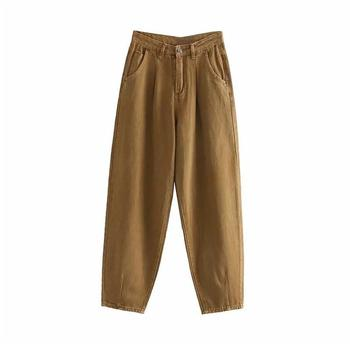 catonATOZ 2248 Khaki Female Cargo Pants High Waist Harem Loose Jeans Plus Size Trousers Woman Casual Streetwear Mom Jeans 11