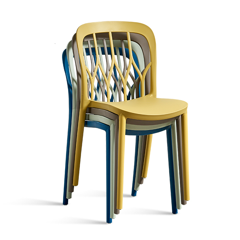 Europe Modern Dining Chair Plastic   Backrest Stool Foldable Originality Student Dormitory Dining Chairs Nordic Furniture