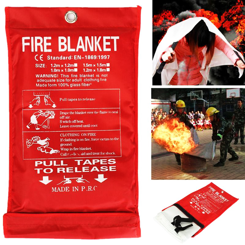 1PCS Sealed Fire Blanket 1*1M Home Safety Fighting Extinguishers Tent Boat Emergency Survival Cover Shelter