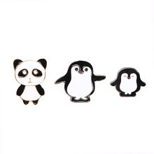 3 pz/set Cartone Animato Animale Brooch Set Panda Pinguino Mama Bambino Spilli Dello Smalto Risvolto Spille Giacca Sacchetto Distintivo Regalo per gioielli per bambini(China)