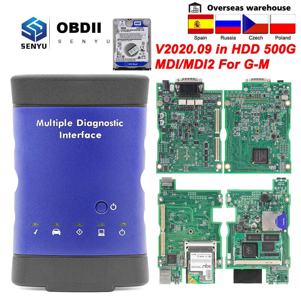 Диагностический интерфейс MDI для GM V2020.09 MDI 2, мультидиагностический интерфейс OBD 2 для GM MDI2 Wi-Fi/USB GDS2 Tech2win OBD2, автомобильный диагностический инс...