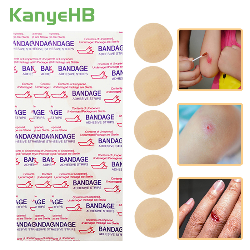 50pcs Waterproof Breathable Round Band Aid Adhesive Bandages Home Travel First Aid Kit For Children Kids A188