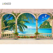 Laeacco Summer Seaside Beach Palm Trees Sea Mountain Landscape Photography Backdrops Vinyl Customs Backgrounds For Photo Studio