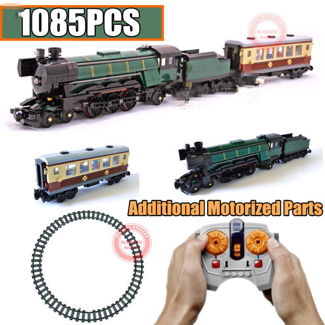Motorized RC Motor Power Function Technic Emerald Night Train Fit Technic 10194 City Building Block Bricks Toy Kid Gift