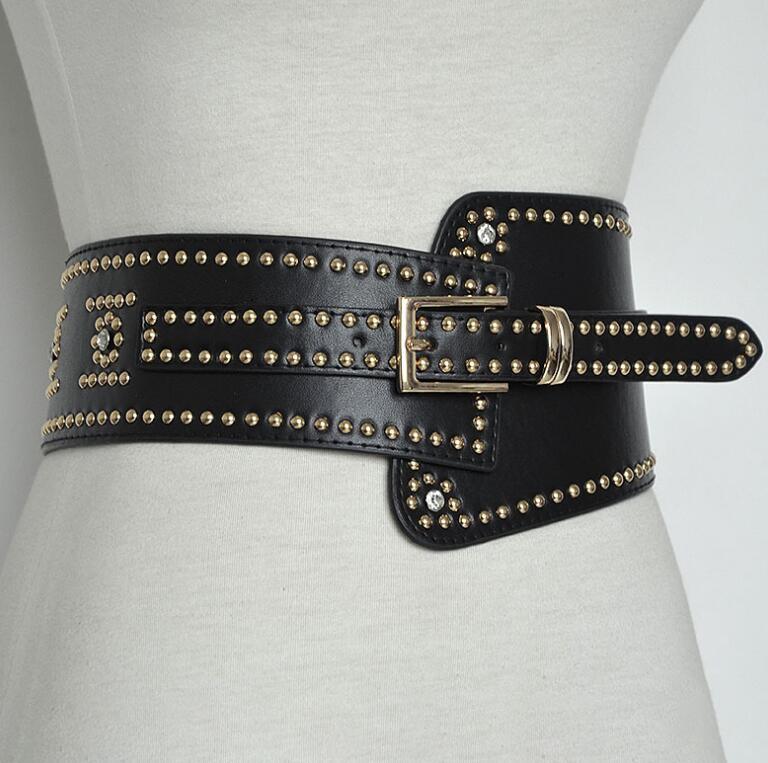 Women's Runway Fashion Pu Leather Rivet Punk Cummerbunds Female Dress Corsets Waistband Belts Decoration Wide Belt R2384