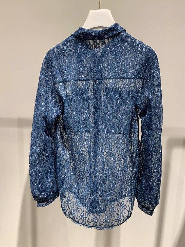 Romantic lady 2019 openwork lace shirt long long sleeve kimono blusas mujer de moda plus size shirt women - 4