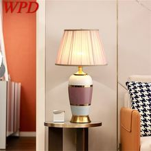 Wpd ceramic table lamps pink copper desk light luxury modern