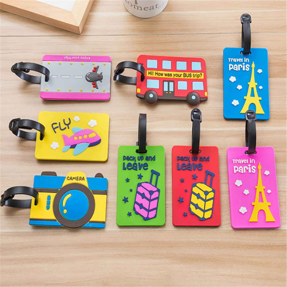 Cartoon Cute Luggage Tag Silicone Women Men Travel Suitcase Tag Name Addres Holder Baggage Boarding Label Tag