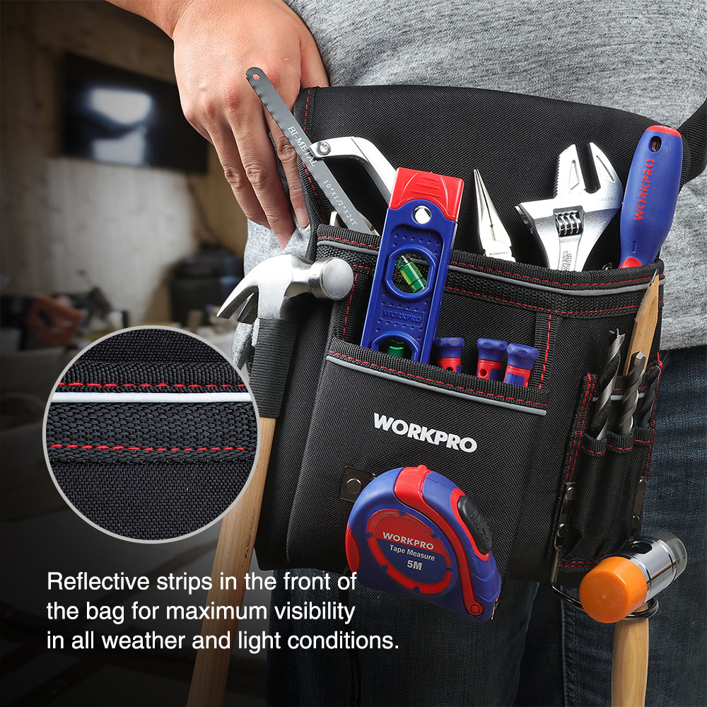 Top SaleWORKPRO Tool-Pouch Belt-Tool Heavy-Duty Multifunction Electrician with Adjustable