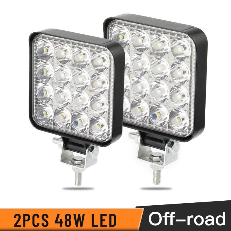 2PCS 48W 30 Degree LED Work Light Square Flood Beam Off-road Bulb Lamp Light Fog Lighting Exterior For Jeep Cabin/Boat/SUV/Truck