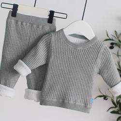 Conjunto de roupas bebê recém-nascido 2020 inverno da criança menina malha com nervuras algodão manga longa outfit para 1st aniversário 2 3 4 5 6 anos