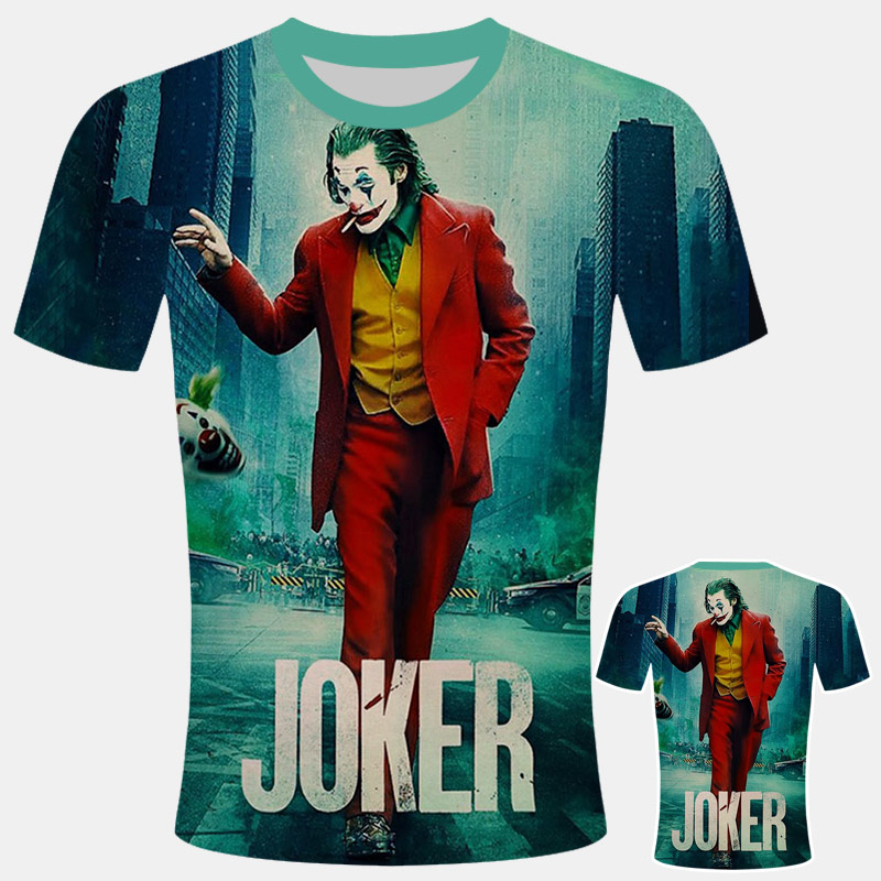 2019 New The Joker T Shirt Man One Piece Off White Joker Comics Character Clown With Poker Summer 3d T-shirt Harajuku Style Tee