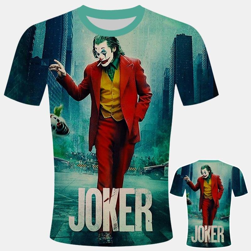 2019 New The Joker T Shirt Man One Piece Off White Joker Comics Character Clown With Poker Summer 3d T-shirt Harajuku Style Tee