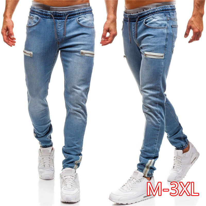3 Styles Men Stretchy Skinny Biker Slim Fit Denim Men Multi-pocket Zipper Pencil Pants Men Casual Jeans Fashion Trousers Casual