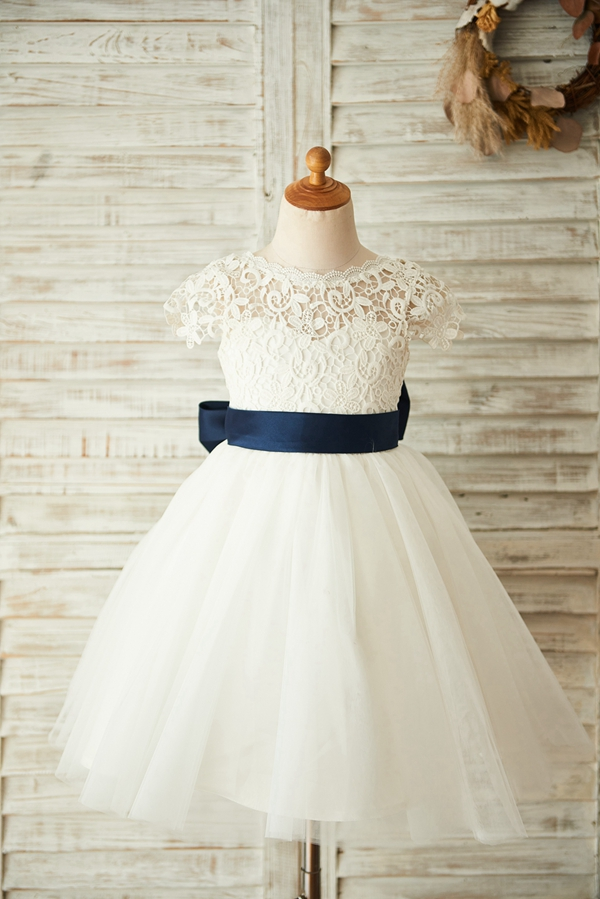 Ball Gown New   Flower     Girl     Dress   2019 Lovely Lace Tulle   Girl     Dress   for Wedding Party Big Bow Backless   Dress
