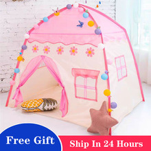 Kids Tents House Castle Wigwam Room-Decor Folding Tipi Pink Baby Play Girls Large Portable