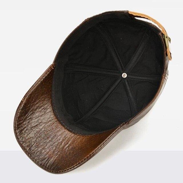 SHALUOTAOTAO Snapback Cap Quality Cowhide Genuine Leather Hat Men Autumn Winter New Thermal Adjustable Size Brands Baseball Caps 6