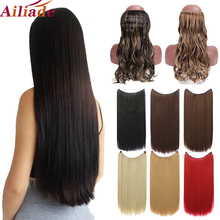 Hairpiece Hair-Heat-Resistant Wavy Long Synthetic Fish-Line Invisible Straight Women