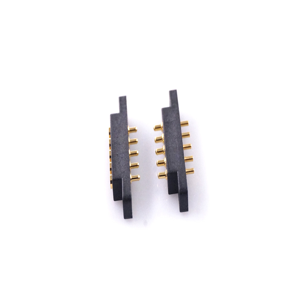10 Pairs Spring-Loaded Pogo Pin 5 Pin Male & Female Contact Pad 2.54 mm Grid Through Hole With Flange Panel Mount Strip 2A 36VDC