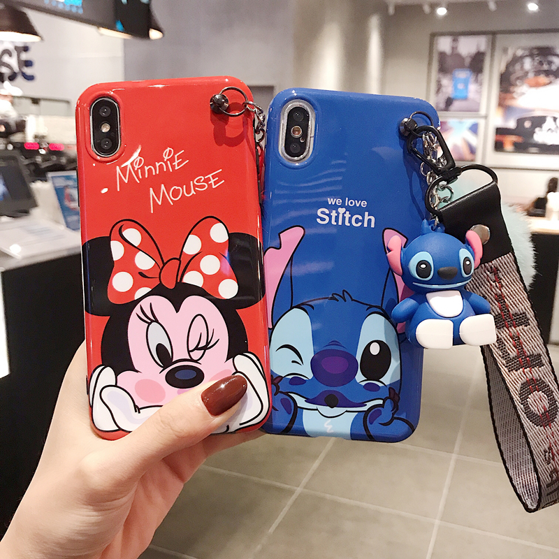 3D Cartoon Stitch Minnie Hair Ball Lanyard Silicone Case For Iphone 7 8 X XR XS MAX 6 Plus Samsung Galaxy S10 S9 S8 Note 9 Cover